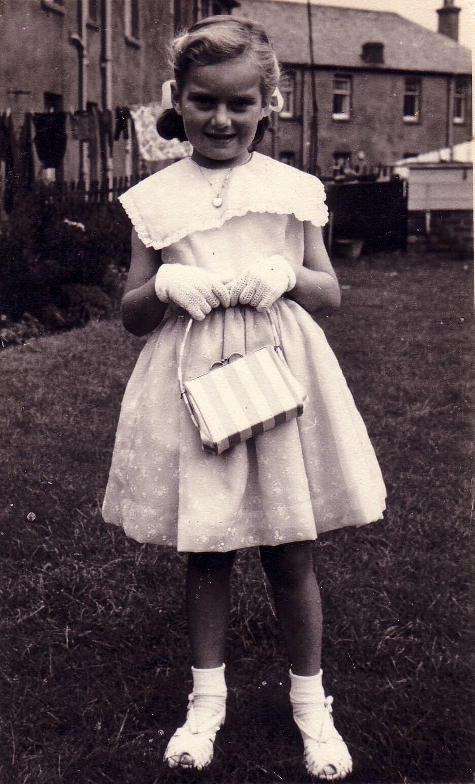 Young Girl Dressed Up In The Back Garden 1959