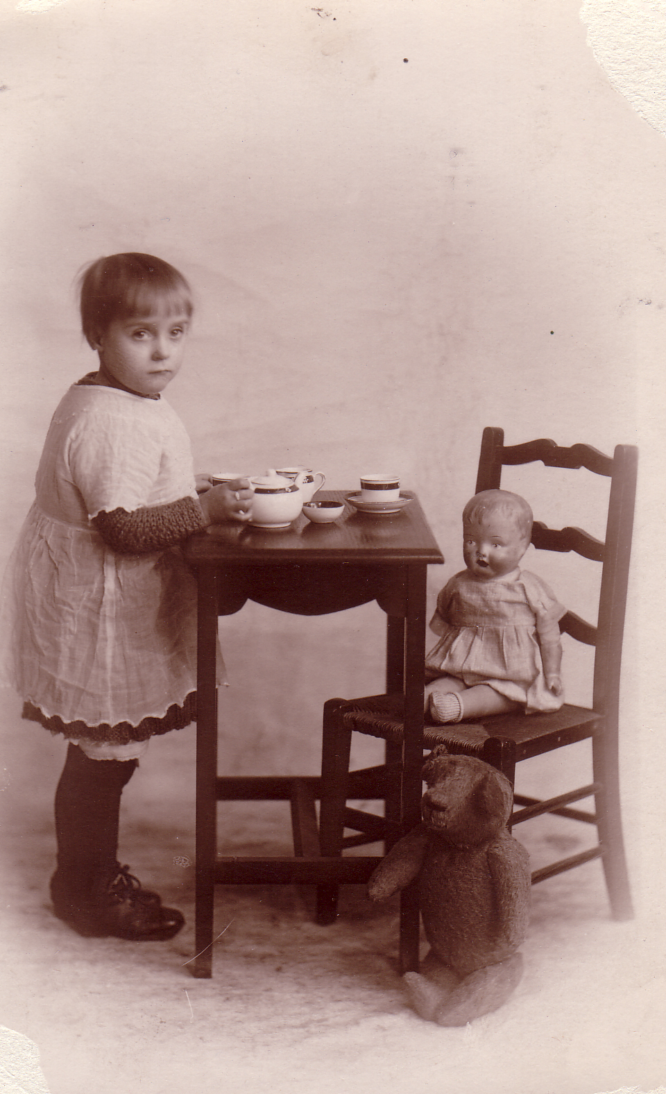 Studio Portrait Young Girl Doll Tea Party 1926