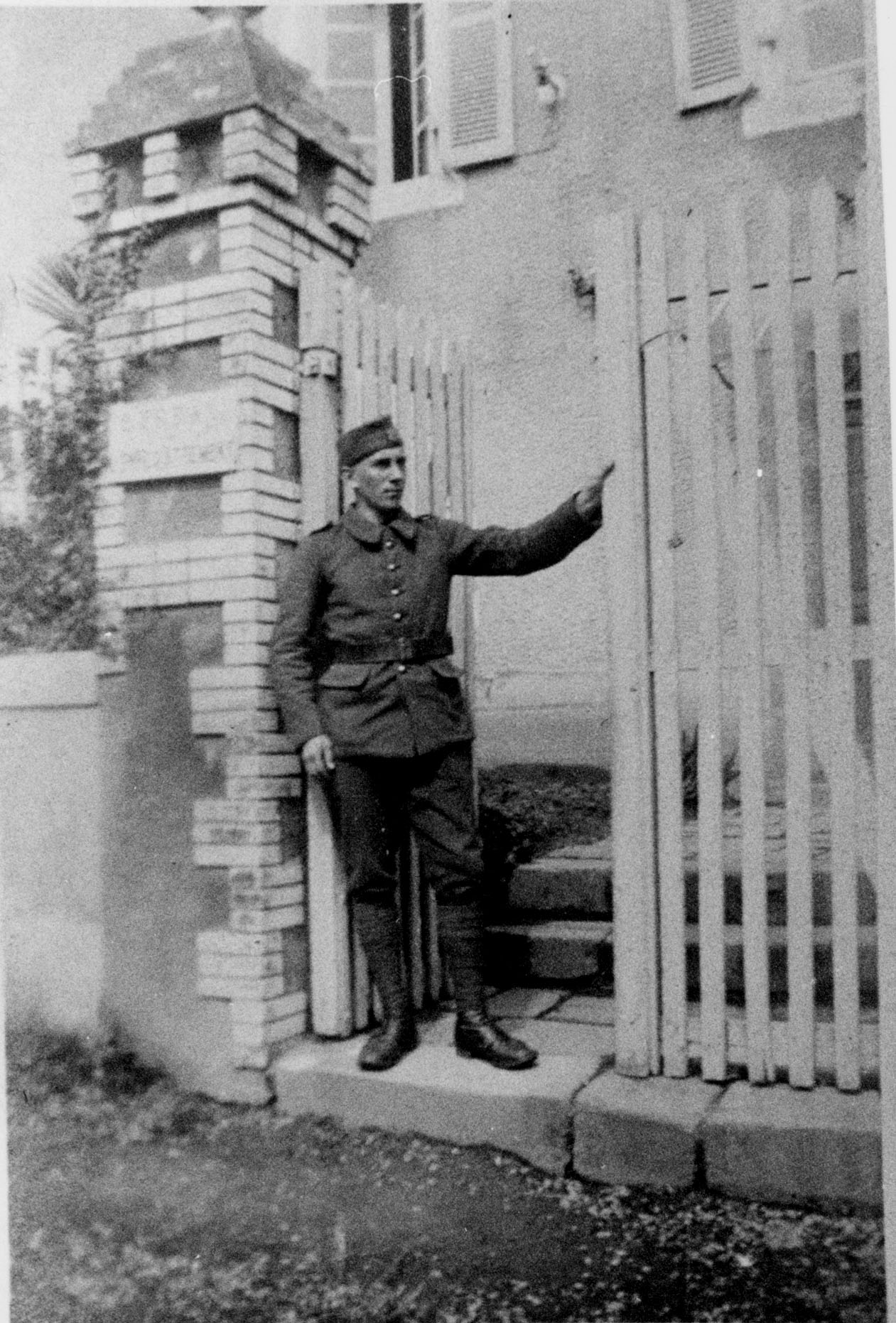 Polish Cavalryman Standing By Gate In Orange, France, Feb 1940