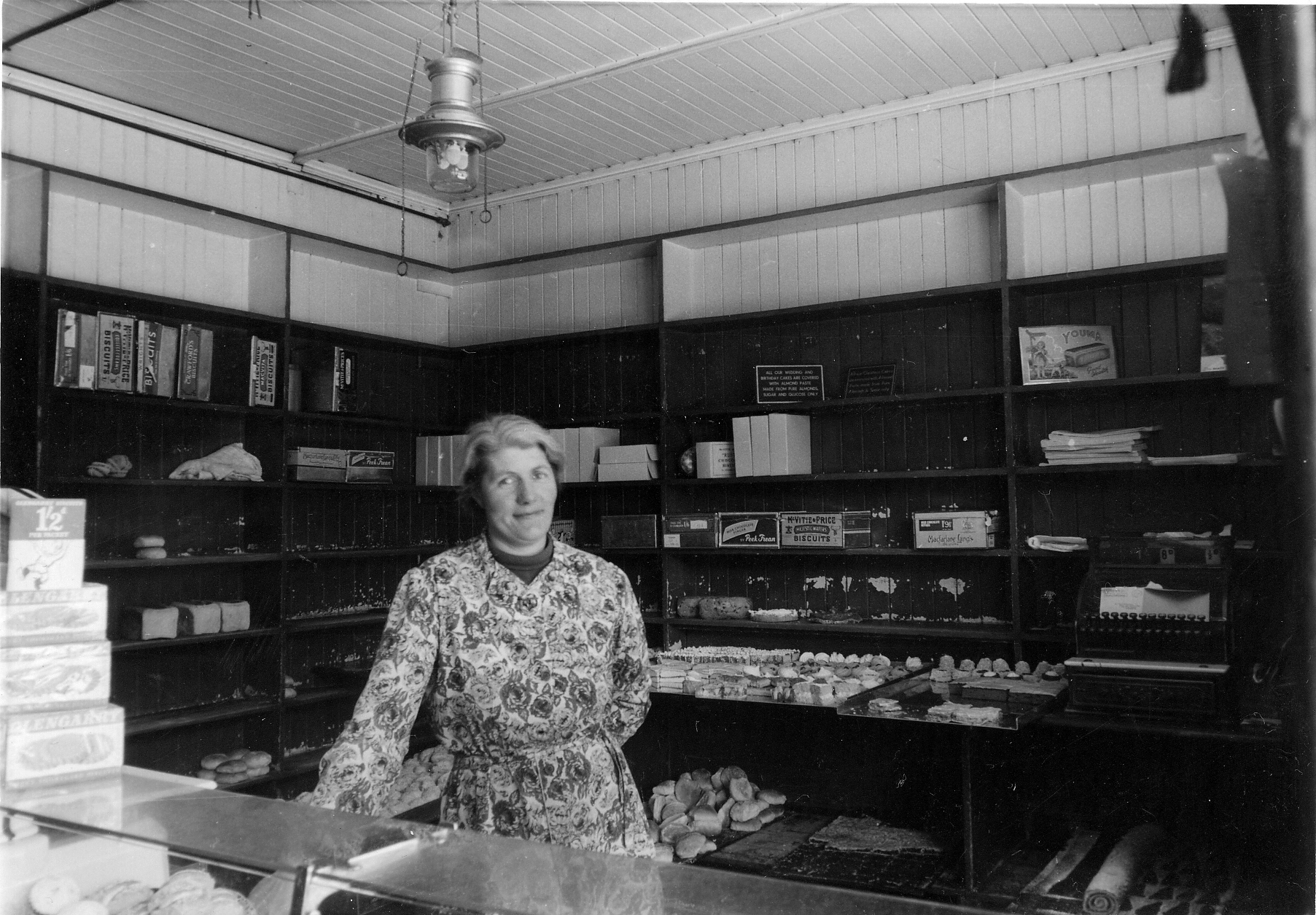 Woman Serving At Counter Of Middleton's Bakery In Cowdenbeath c.1950