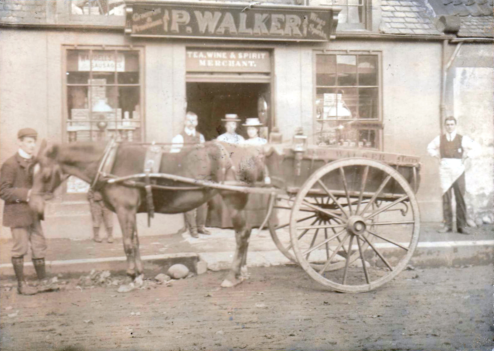 Peter Walker Grocer's Shop With Staff And Delivery Horse 1890
