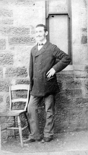 Portrait Man Standing Outdoor By Chair 1870s