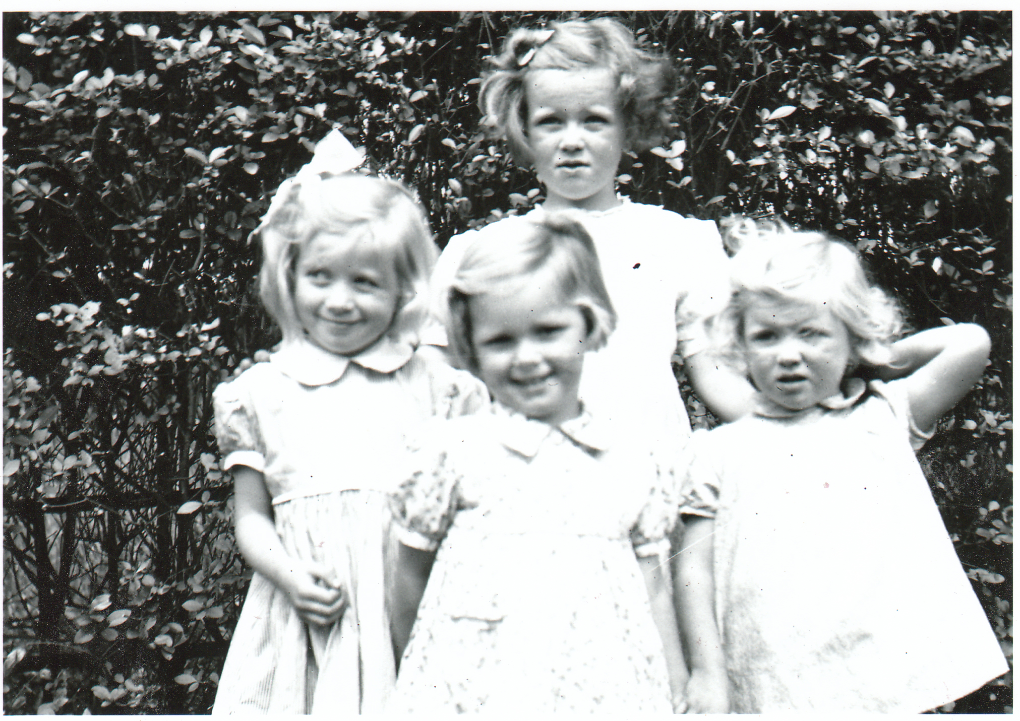 Three Sisters And Family Friend In Back Garden At 28 Evan Drive In Giffnock 1946