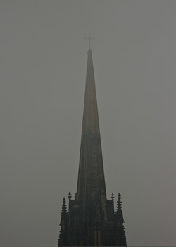 Spire in the fog