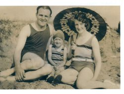 Couple And Child In Swimsuits At Leven 1931