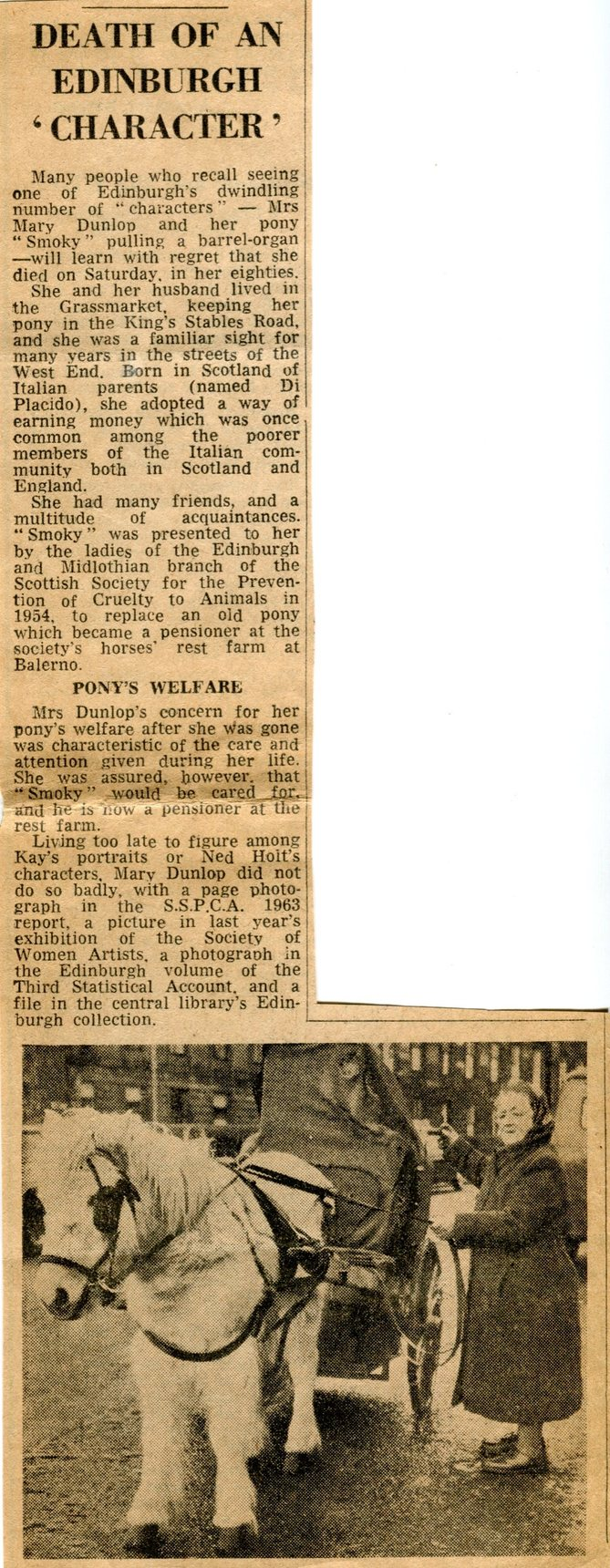 Newspaper Cutting On Mary Dunlop Barrel Organ Player 1966