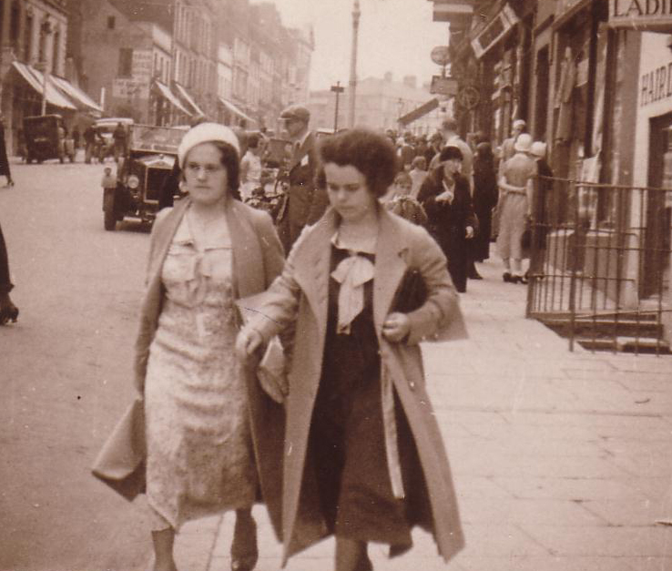 Two Women In Busy Street 1930s