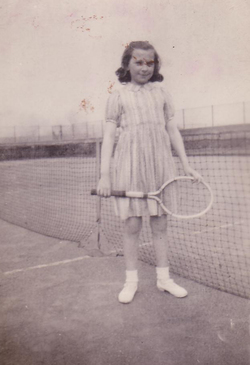 Girl With Tennis Racquet At Net 1949