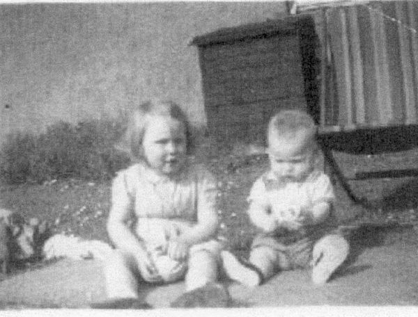 Young Brother And Sister Playing In Garden At Stenhouse Drive c.1954