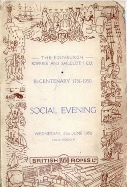 Programme For The Edinburgh Roperie And Sailcoth Company Social Evening, 21 June 1950