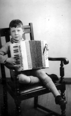 Studio Portrait Boy With Accordion 1934