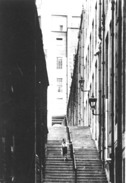 Young Boy Descending Steps Of Old Town Close, August 1955