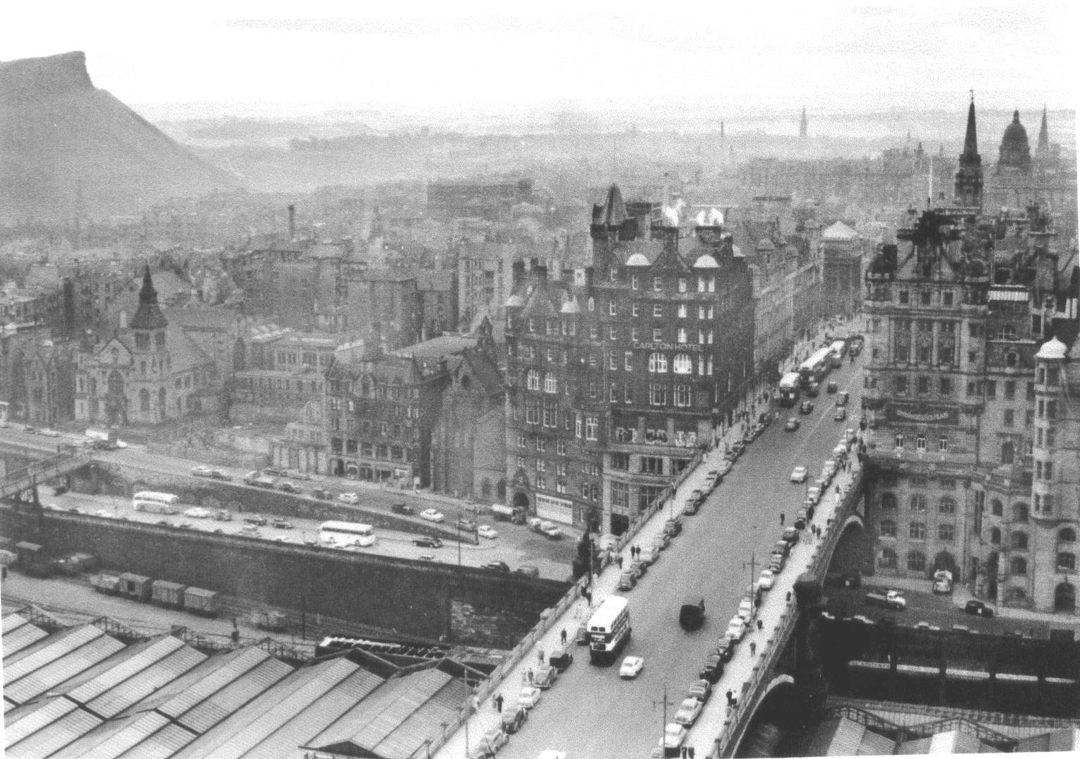 View Of North Bridge From North British Hotel 1958