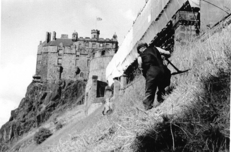 Scything Grass At Edinburgh Castle 1964
