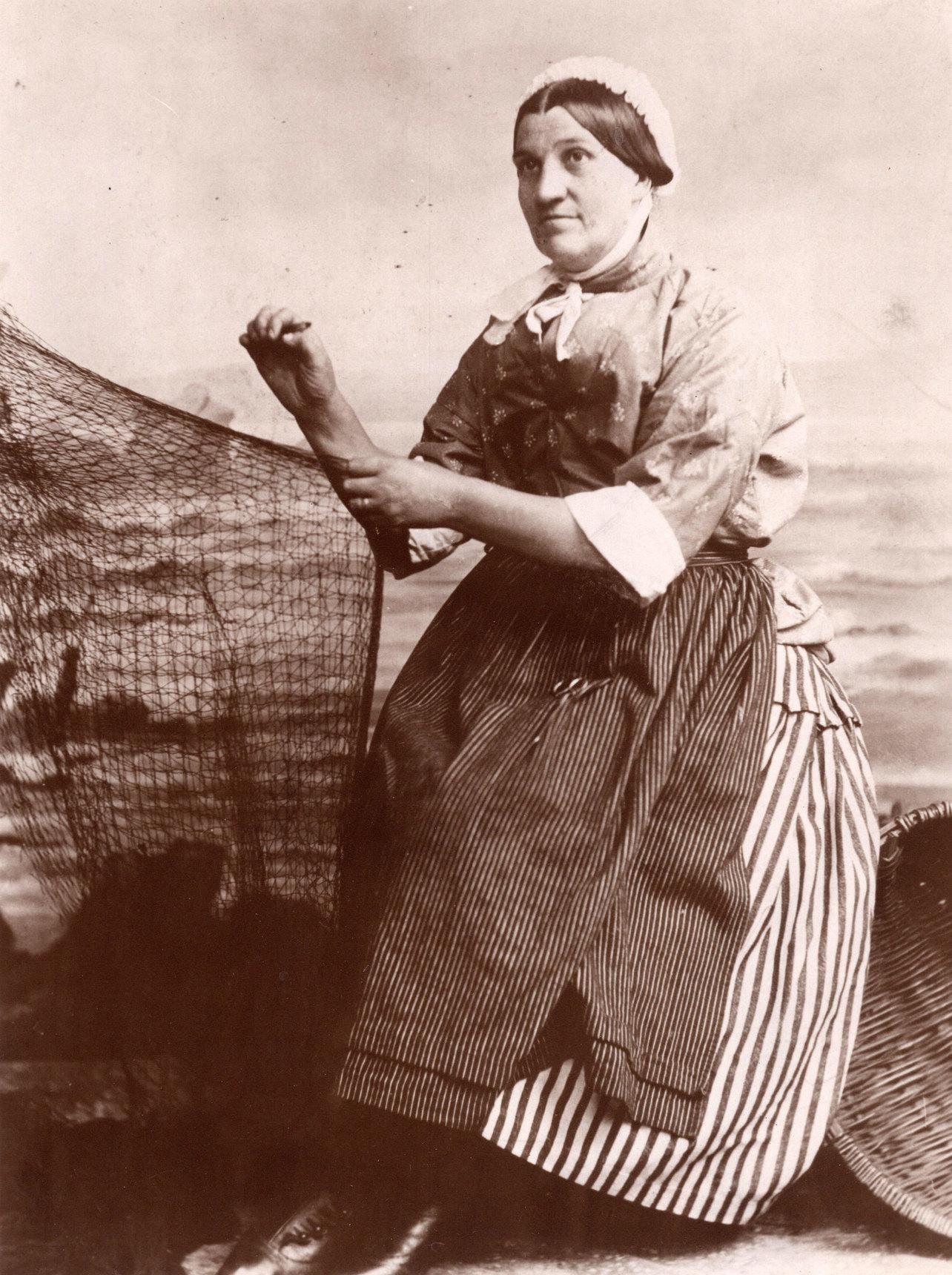Studio Portrait Newhaven Fishwife Mending Net c.1900
