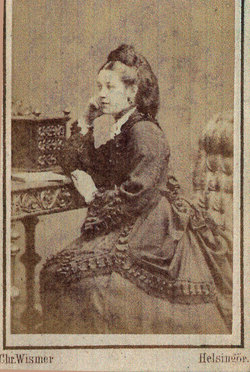 Studio Portrait Danish Woman Sitting At Bureau c.1885