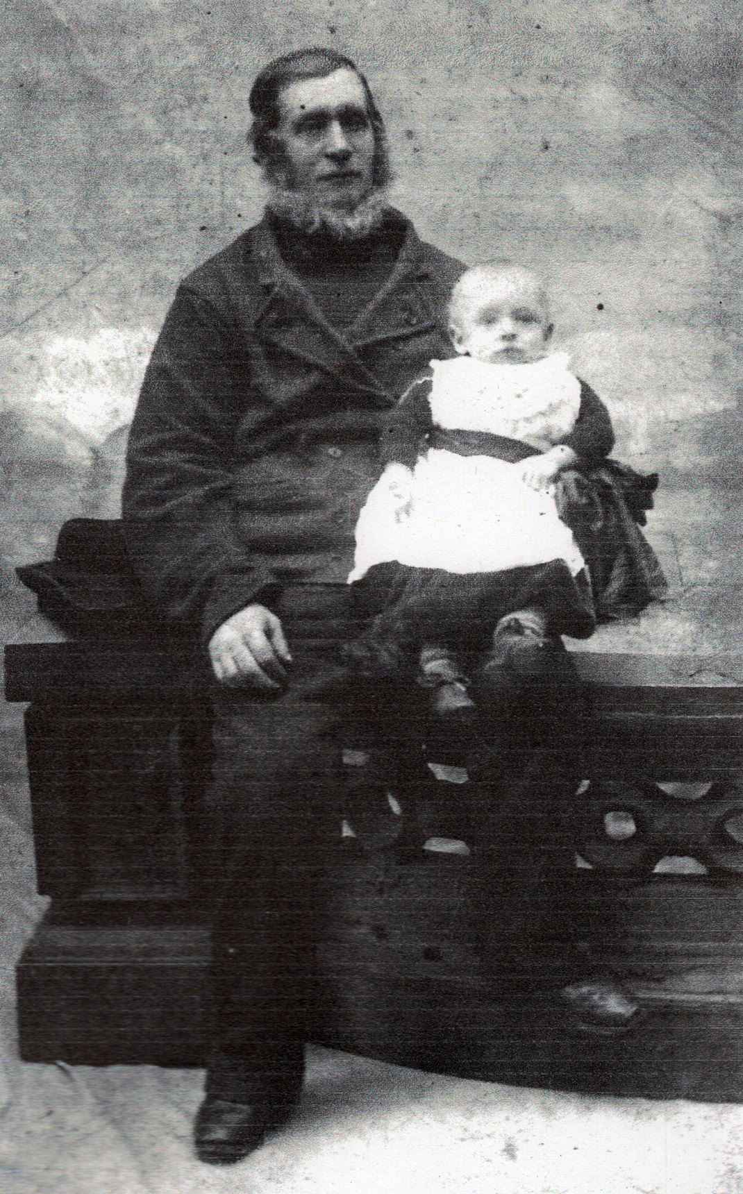 Studio Portrait Man With Young Child c.1885