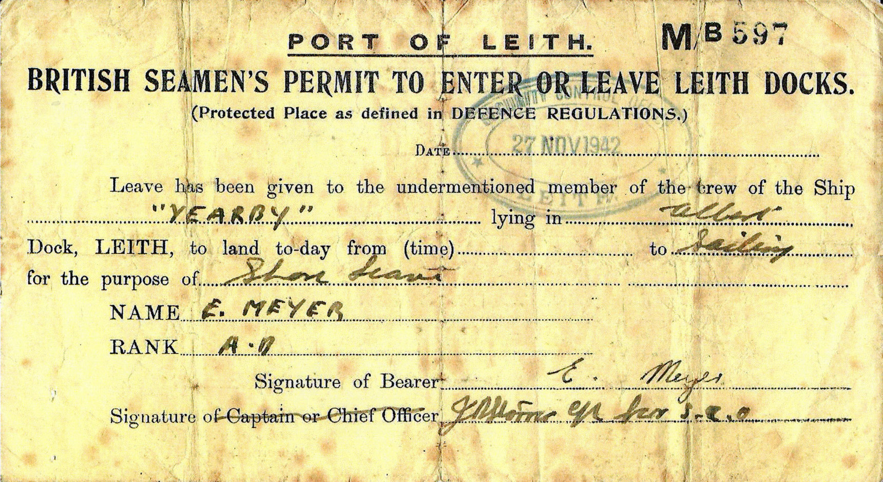 Seaman's Port Of Leith Shore Leave Pass 1942