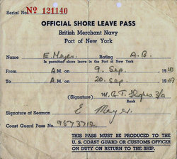 Seaman's Shore Leave Pass For The Port Of New York 1943