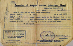 Seaman's Certificate Of Cessation Of Seagoing Service 1948