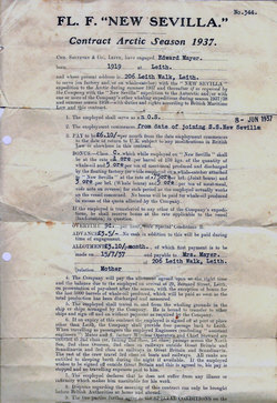 Seaman's Employment Contract For Whaling Expedition 1937