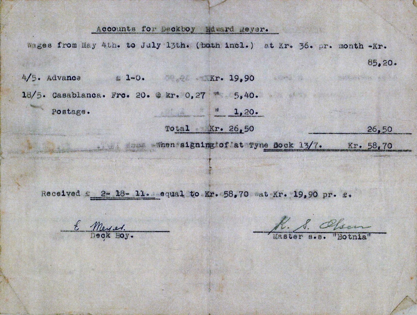 Merchant Seaman's Wage Slip 1930s