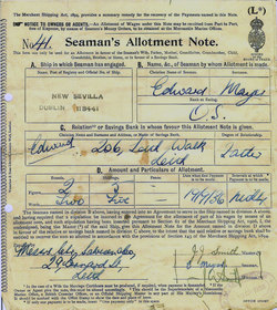 Seaman's Allotment Note 1936