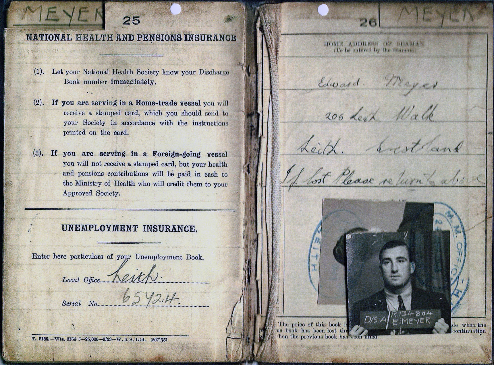 Merchant Seaman's Continous Certificate Of Discharge Book 1935-47