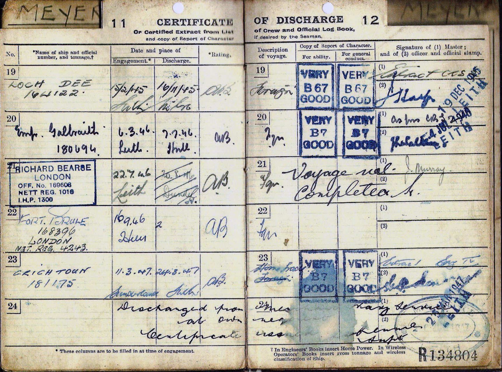 Merchant Seaman's Continuous Certificate Of Discharge Book 1935-47