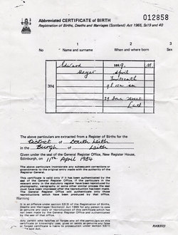 Extract Of Birth Certificate Of Leith Born Edward Meyer 1984