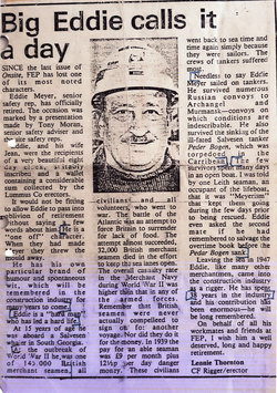 Newspaper Cutting On The Retirement Of Eddie Meyer c.1985