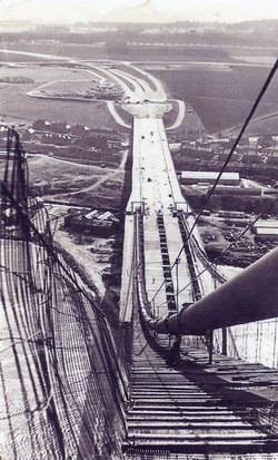 View Looking Down From Tower Of Forth Road Bridge To Northbound Approach Road c.1963