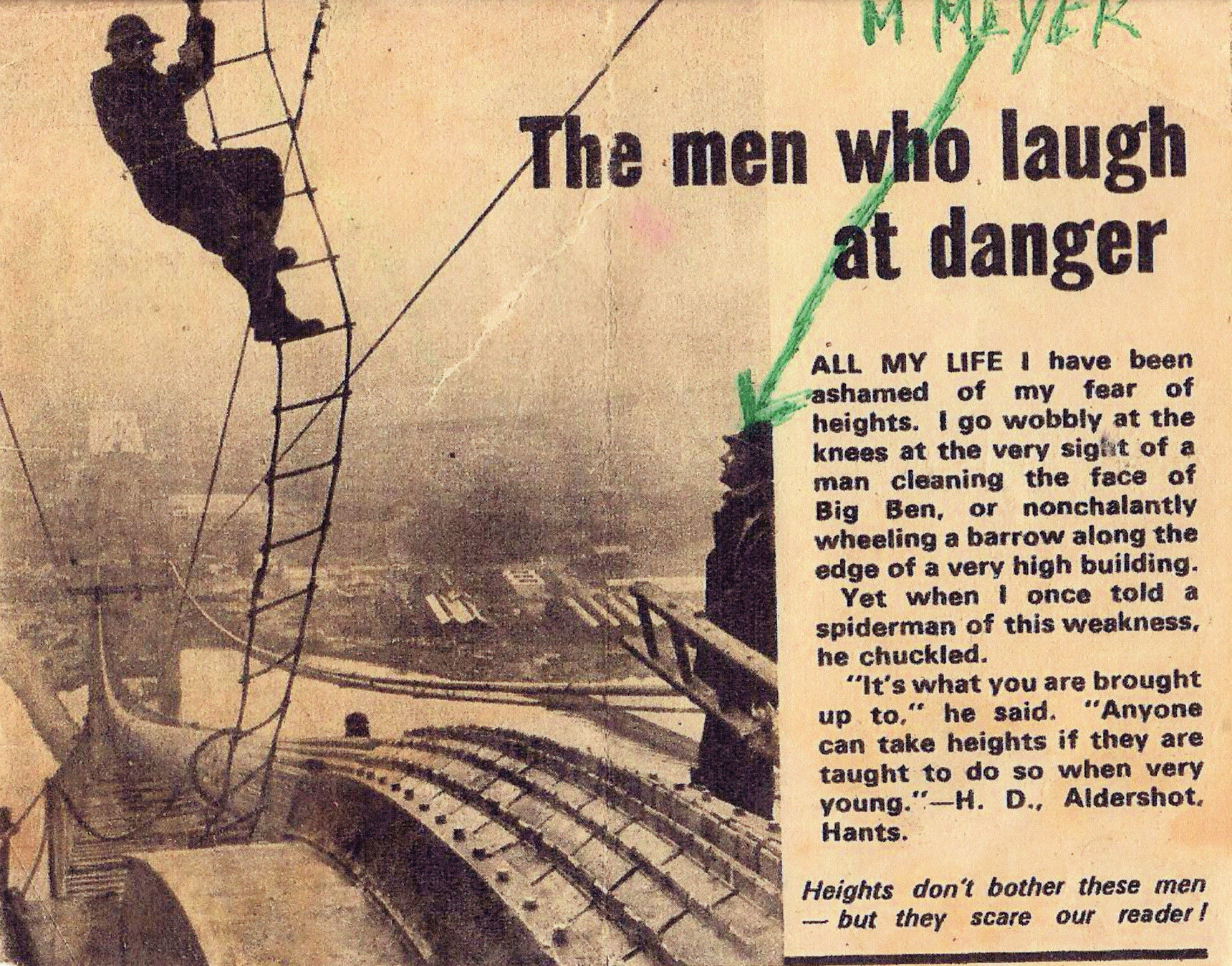 Newspaper Cutting 'The Men Who Laugh At Danger' c.1963