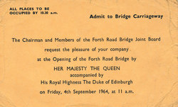 Ticket To Attend Opening Ceremony Of Forth Road Bridge, 4th Sept 1964