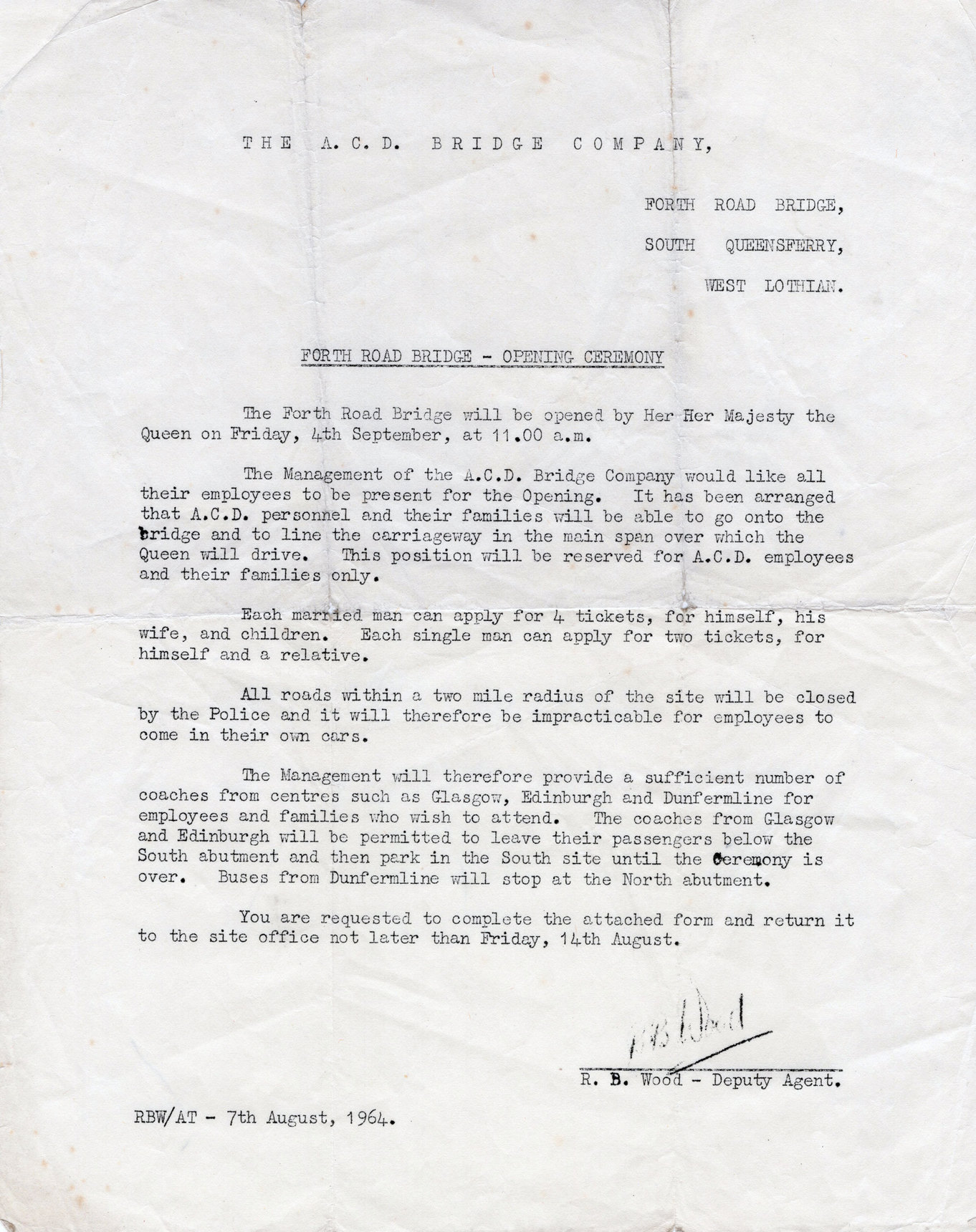 Invitation Letter To ACD Bridge Company Employees To Attend Opening Ceremony Of Forth Road Bridge 1964