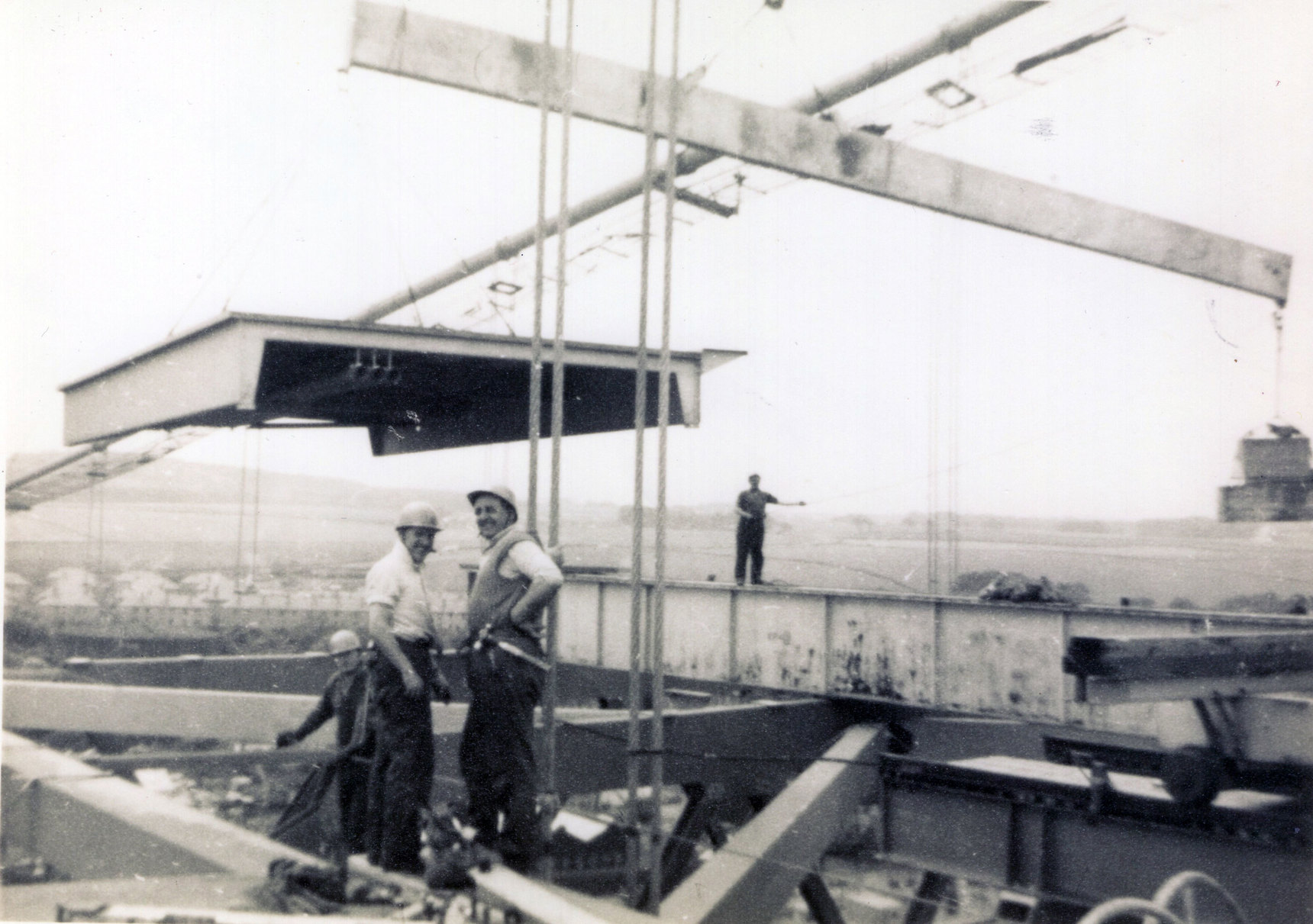 Fitting Deck Section On Forth Road Bridge c.1962