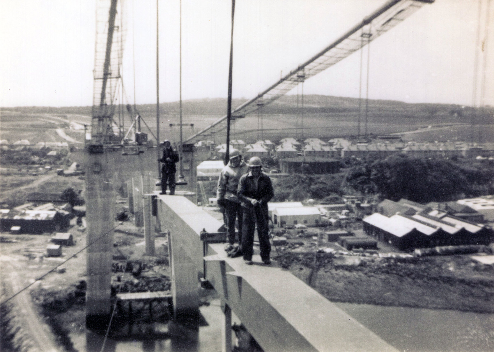 Construction Workers On Part Of Deck Of Forth Road Bridge c.1962