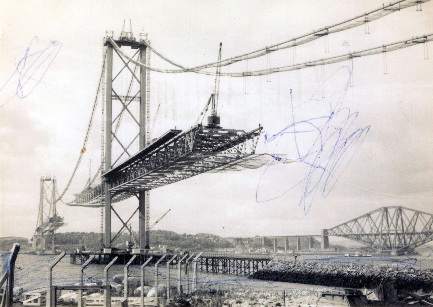 Half Completed Forth Road Bridge c.1963