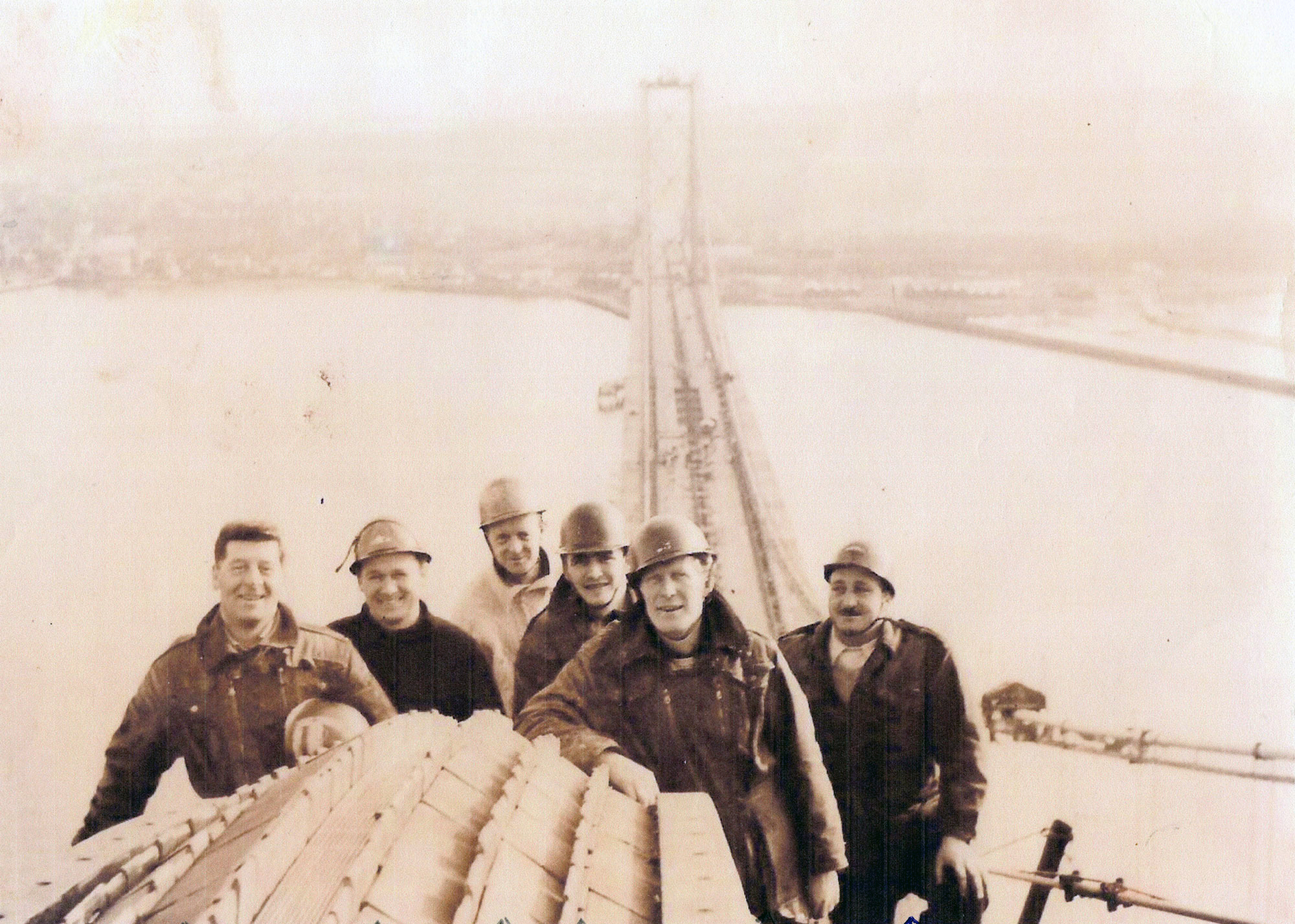 Construction Workers Near Top Of Tower Of The Forth Road Bridge c.1964