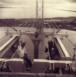 Work Crew During Construction Of The Forth Road Bridge c.1962