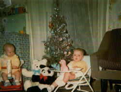 It was Christmas Day at Dean Path my twins Gillian & Paul were 6 months old.