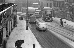 Traffic In Snow At Top Of Leith Street 1960s