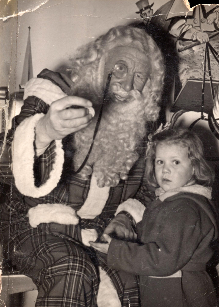 Young Girl With Department Store Santa Claus 1953