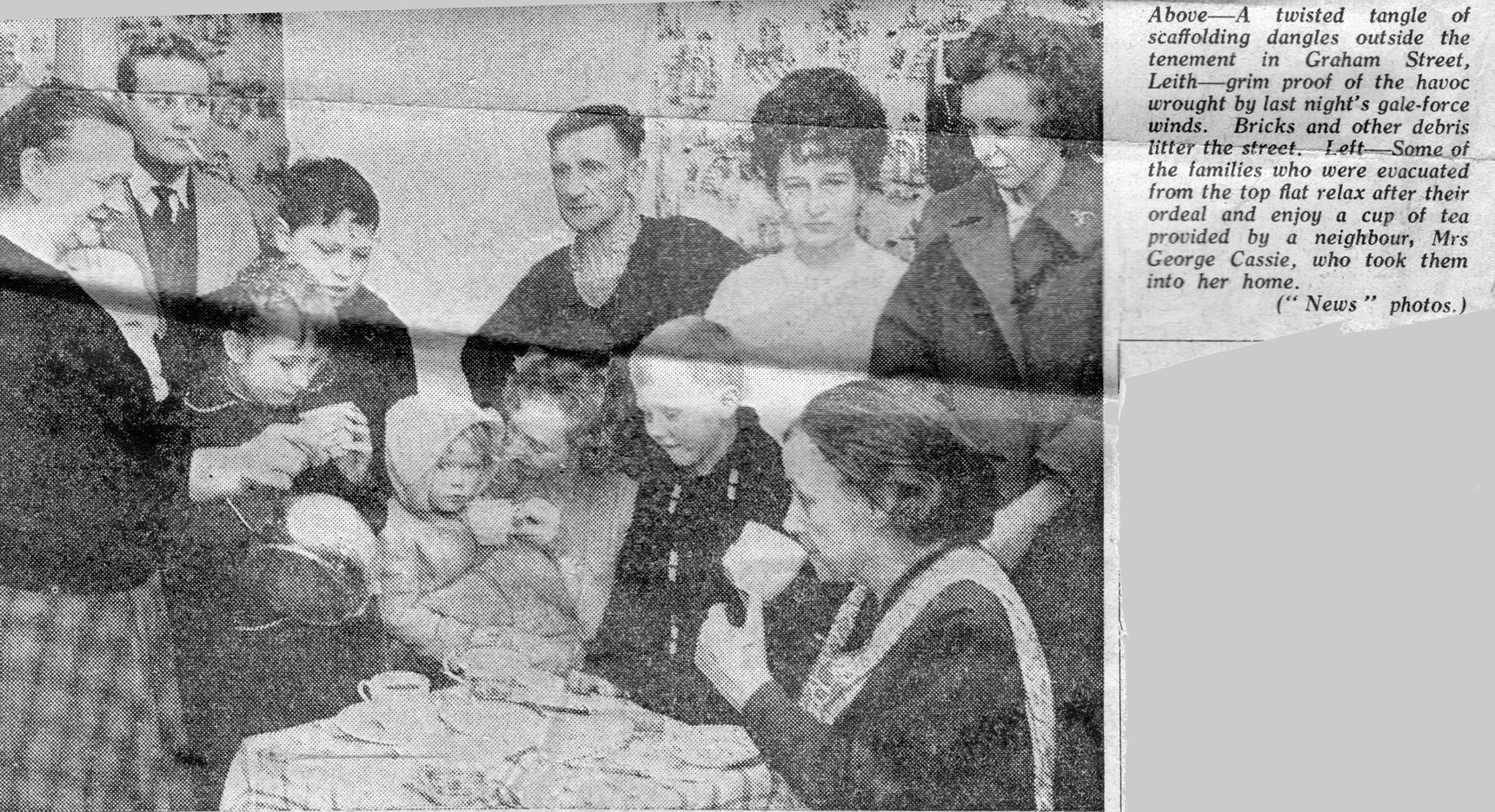 Newspaper Cutting Family Affected By Collapse Of Scaffolding In Graham Street 1960s
