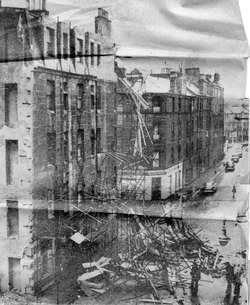Newspaper Cutting Fallen Scaffolding On Graham Street 1960s