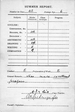 Pupil's Royal High Preparatory School Report Card 1938