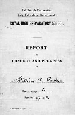 Pupil's Royal High Preparatory School Report 1938
