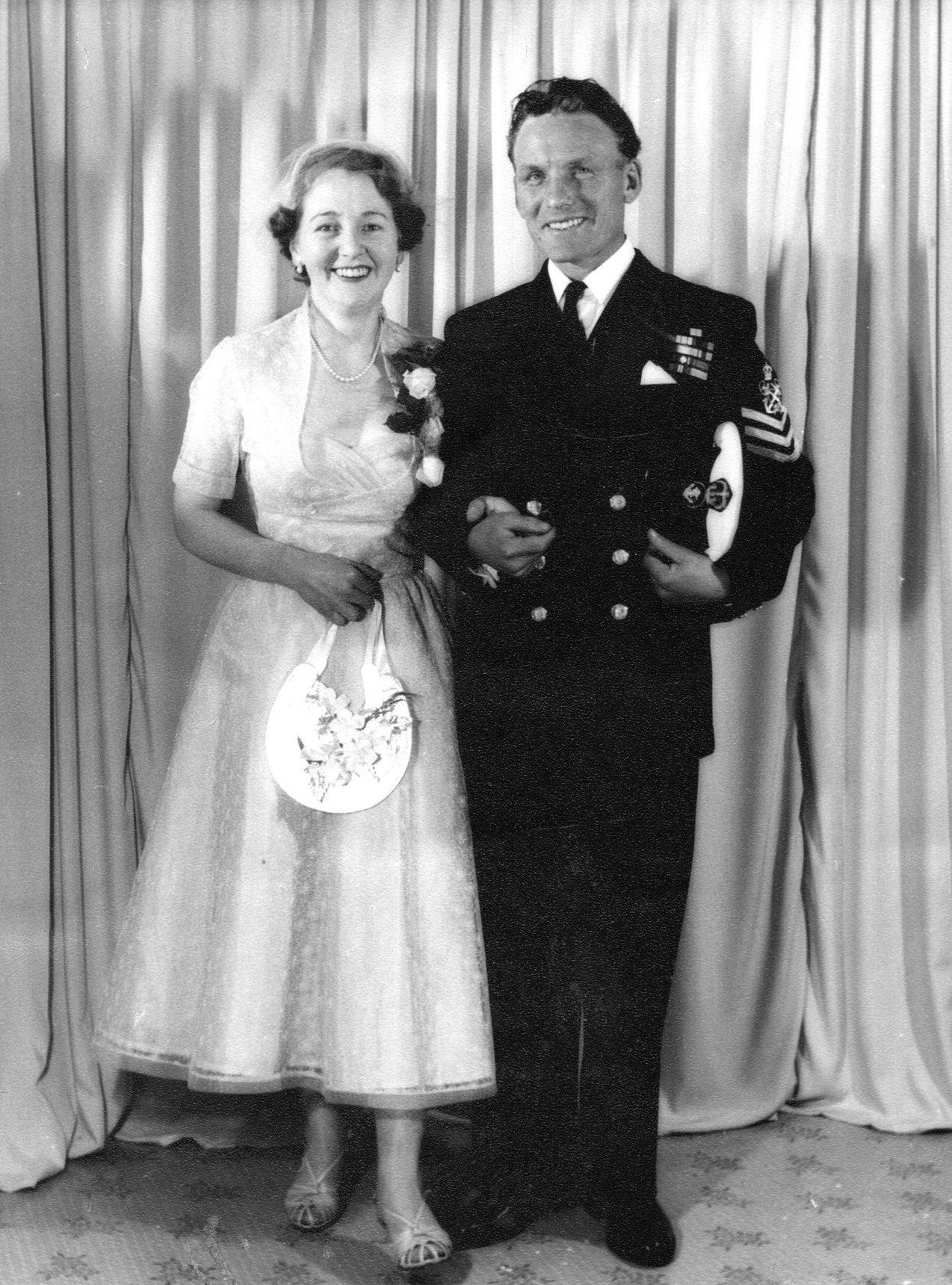 Sailor And Wife On Wedding Day, early 1950s