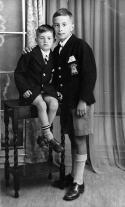 Studio Portrait Two Brothers In Royal High School Uniform c.1937
