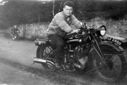 Young Man Riding Motorbike And Sidecar 1920s